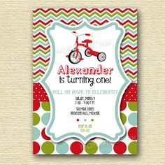 Chevron Polka Dot Tricycle Birthday Party Invitation - PRINTABLE INVITATION DESIGN by MommiesInk on Etsy https://www.etsy.com/listing/154136884/chevron-polka-dot-tricycle-birthday
