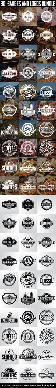 30 Badges and Logos Bundle Template #design Download: http://graphicriver.net/item/30-badges-and-logos-bundle/12133954?ref=ksioks