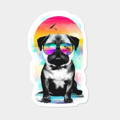 Summer Pug Sticker By Clingcling Design By Humans