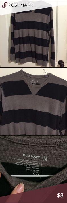 Men's old navy stripe long sleeve tee size M Men's stripe long sleeve tee. Size medium from Old Navy. Gray and navy stripes. Old Navy Shirts Tees - Long Sleeve