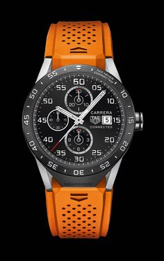 TAG Heuer's Connected luxury smartwatch debuted in New York. In addition to the chronograph function, which acts as a stopwatch, Connected features date and alarm complications. Timex Watches, Men's Watches, Cool Watches, Fashion Watches, Jewelry Watches, Wrist Watches, Tag Heuer, Men's Accessories, Bathroom Accessories
