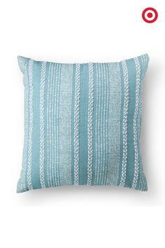 Pile on the pillows! The cool mint color and embroidery of this throw pillow are all it takes to brighten up a room. Your couch and chairs will be very happy.