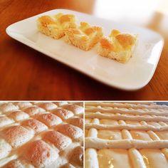 flaumiger Ölkuchen mit leichter Topfen (Quark) Creme. Das ausführliche Rezept mit vielen Tipps zum Steppdecken/Gitterkuchen findet hier..