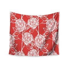 """Gill Eggleston """"Protea Strawberry White"""" Red Flowers Wall Tapestry"""
