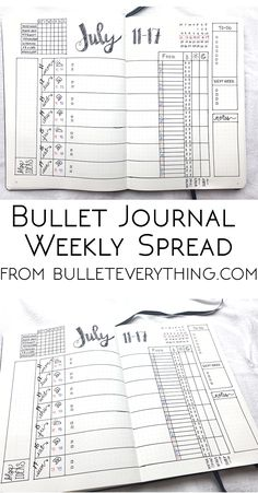 Weekly Spread from Bullet Everything. Find measurement templates, PDF printables, video and more at bulleteverything.com! #bulletjournal #bujo