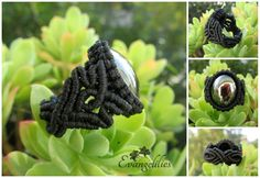 "✿ ""Μαύρο Ρόδο"" / ""Black Rose"" macrame ring... with black mirrored-glass bead https://www.facebook.com/evangelilies/photos/pb.1533543136930128.-2207520000.1454973756./1664818770469230/?type=3&theater"