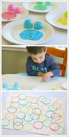 Painting with Plastic Easter Eggs- super fun art project for toddlers and preschoolers! #artsandcraftsfortoddlers,