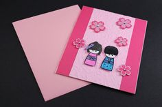Pink Japanese Kokeshi Doll Card Blank by JHCcrafts on Etsy, $5.00