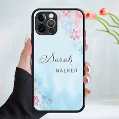 Personalised flower pattern phone case cover 245 Black (Apple Models Only) - 7