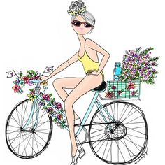 SPRIIIIIINNNGGG !!!! #happy #illustration #drawing #fashionillustration #spring #velo #bike #flower #swimsuit #girl #love #life #sun #sunshine #baby #born #girl #london