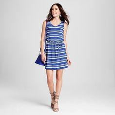 Women's Striped Tie Waist Tank Dress Sudden Sapphire/White Xxl - Merona #tankdress