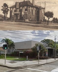 The corner of Lyons Road and Marlborough Street, Drummoyne in circa 1930 and 2014. The Town Hall was replaced by the Civic Centre in 1968. [circa 1930 - City of Canada Bay>2014 - Google Street View. By Phil Harvey] Five Dock, Phil Harvey, Historical Pictures, Town Hall, New Zealand, Sydney, Centre, Past, Corner