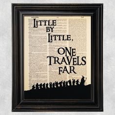 Little By Little One Travels Far Quote, Dictionary Art Print, The Lord of the Rings, Tolkien, Vintage Wall Art, Upcycled, 8x10 Print  (#112)