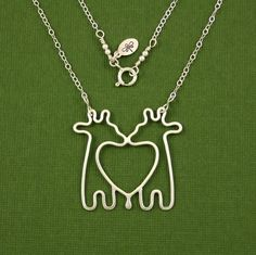 """16"""" Giraffe Twins Necklace, Sterling Silver, Cable Chain, Made to Order. $60.00, via Etsy."""