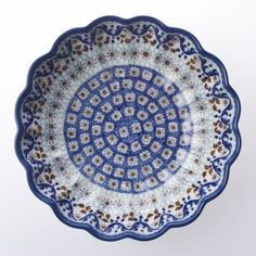 Blue Dot Pottery - Polish Pottery & Stoneware - Frilled Bowl 7¾ -