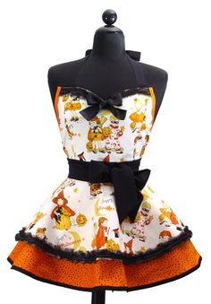 """HALLOWEEN Pin Up Sexy """"Trick-Or-Treat"""" Double Skirt Sweetheart Neckline Full Apron $56.95"""