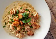 Chinese Yee Mein Noodles with a Garlic and Butter Sauce, from my Live Asian Kitchen on Twitch; an easy seafood noodle recipe.