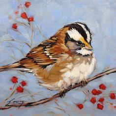 "Sparrow, White throated Sparrow, bird paintings, 6x6"" original oil painting on panel"