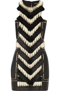 Balmain|Embellished leather mini dress|NET-A-PORTER.COM