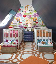 Colorful Boy/Girl Twin Nursery - amazing accent wall and use of color!