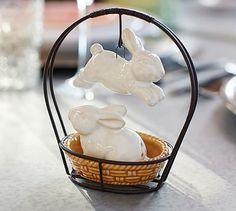 Jumping Bunny Salt & Pepper Shakers #potterybarn