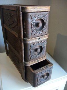 reciclado y vintage. :D Vintage Antique Ornate Singer Sewing Machine 3 Wooden Drawers Retro Organization