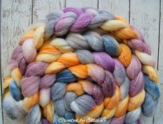 Merino/Bamboo 'Lilies & Lavender' 4 oz hand dyed combed top, wool for spinning, weaving or felting by CreatedbyElsieB