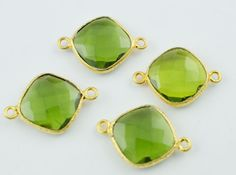 4 Pieces Lot Peridot Faceted Double Bail by LeejewelCreations