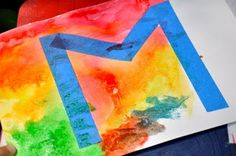 painters tape relief water color... kids' initials/artwork for bedrooms?