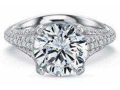 Harold Stevens White Gold Micro Pave Diamond Engagement Ring