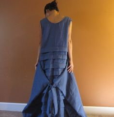 custom plus size eco linen pleated long dress  by annyschooecoclothing,