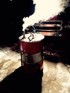 UDS @ -10 degrees out warming up for 21 pounds of pork butt... Ugly drum smoker