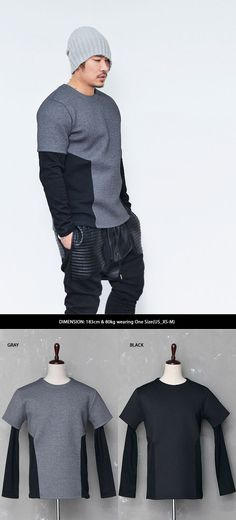Tops :: Tees :: Street-edge Layered Neoprene Round-Tee 445 - Mens Fashion Clothing For An Attractive Guy Look