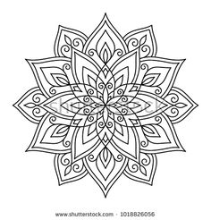 Vector, outline, illustration, mandala, circle, doodle style, tattoo, pattern, east, star, coloring page