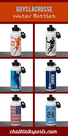 Stay hydrated with these personalized aluminum guys lacrosse water bottles! Great for games, practices, and even off the field at the beach! Buy one for your favorite lacrosse player at ChalkTalkSPORTS.com!
