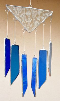 Stained Glass Wind Chimes in Shades of Blue by DianeMarieArt, $18.00