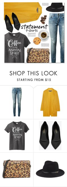 """Say It Loud: Slogan T-Shirts"" by monica-dick ❤ liked on Polyvore featuring Yves Saint Laurent, Rochas, Charlotte Olympia, Zone, rag & bone, polyvoreeditorial, statementtshirt and slogantshirts"
