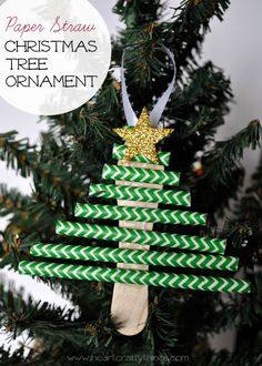 Make this Paper Straw Christmas Tree Ornament to go along with the classic book Mr. Willowby's Christmas Tree. Fun and simple kids craft! From I Heart Crafty Things #KidMadeOrnaments