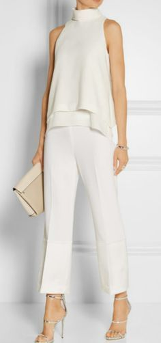 Everly silk chiffon-trimmed crepe top by Elizabeth and James - Satin-trimmed crepe wide-leg pants by Theory Fashion Mode, Look Fashion, Womens Fashion, White Fashion, Street Fashion, Fashion Ideas, Mode Outfits, Casual Outfits, White Outfits