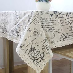 New Arrival Vintage English Letter Dining Table Cloth Linen With Lace Edge Home Cotton Dustproof Tablecloth Cover Multi Size #Affiliate