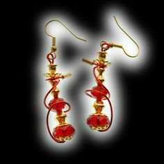 Red Hookah Earrings Gold Finish Gold Tip Red Hose by HookahDreams, $24.00.   A Hookah Dream can come & go with the smoke.