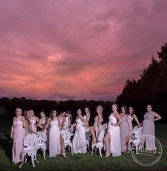 The perfect backdrop. Wedding party, all girls wedding party, love, wedding photography, love wins, lesbian wedding, sunset photography, country wedding
