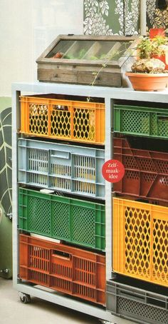 Upcycle Plastic crates as drawers - love it!