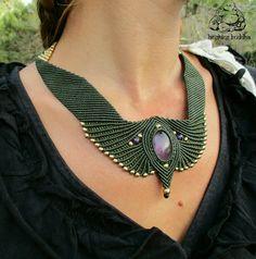 Items similar to MEDUSA forest green macrame goddess necklace on Etsy Macrame Colar, Macrame Rings, Macrame Necklace, Macrame Knots, Macrame Jewelry, Boho Rings, Crystal Jewelry, Boho Jewelry, Macrame Dress