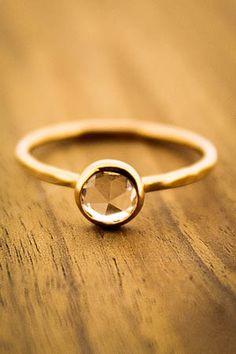 Rose Cut Sapphire Ring - 18K Gold