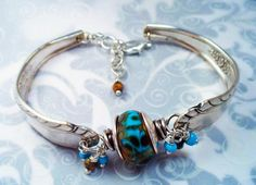 Only my second one! Silverplate Vintage Spoon Bracelet w Turquoise Lampwork Glass Bead  http://www.artfire.com/ext/shop/product_view/4519738