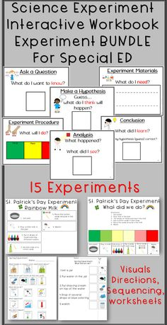 Science Experiment and Scientific Method Interactive Workbook BUNDLE for Autism and Special Education.  Includes tons of visual choices, visual directions, sequencing tasks, and worksheets for 15 Holiday, Seasonal, or Anytime Science Experiments.