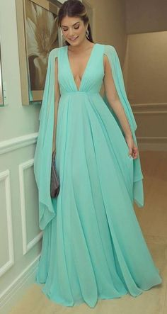 Chiffon Mint Green Prom Dresses V Neck Muslim Evening Party Dresses CR 12270 Prom Party Dresses, Party Gowns, Formal Evening Dresses, Bridesmaid Dresses, Vestidos Azul Serenity, Mint Green Dress, Cape Dress, Chiffon, Lifting Motivation