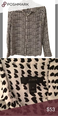 J.crew heart print silk buttoned down shirt This is such a soft shirt and perfect for any occasion J. Crew Tops Blouses