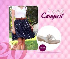 Aposte em estampas como bolinhas para compor um look retrô. Combine com um Campesí branco e delicado para um look perfeito! #lookCampesí #conforto